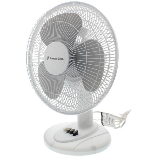 "Comfort Zone 12"" Oscillating Table Fan"