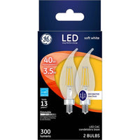 GE 2-Pack 3.5-Watt LED Soft White Dimmable CAC Light Bulbs