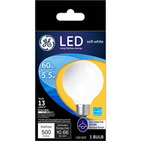 GE 5.5-Watt LED Soft White Dimmable G25 Light Bulb