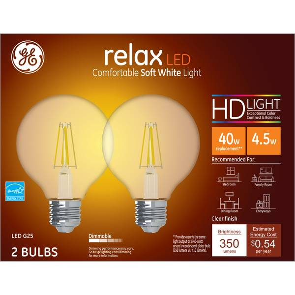 GE 2-Pack 4.5-Watt Relax LED Soft White Dimmable G25 HD Light Bulbs