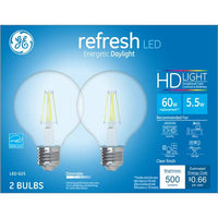 GE 2-Pack 5.5-Watt Refresh LED Energetic Daylight Dimmable G25 HD Light Bulbs