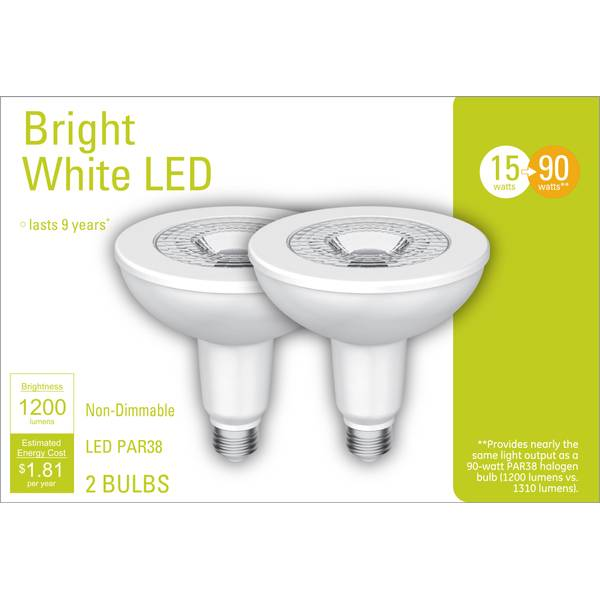 GE 2-Pack 15-Watt Bright White LED PAR38 Light Bulbs