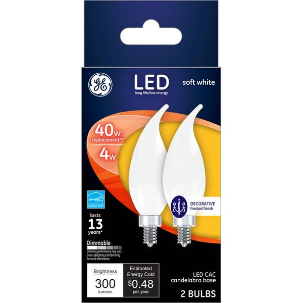 GE 2-Pack 4-Watt LED CAC Soft White Dimmable Frosted Light Bulbs