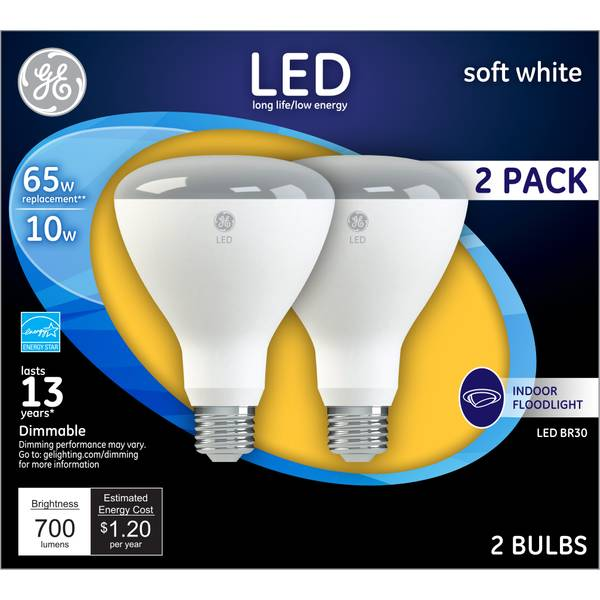 GE 2-Pack 10-Watt LED Soft White Dimmable BR30 Indoor Floodlights
