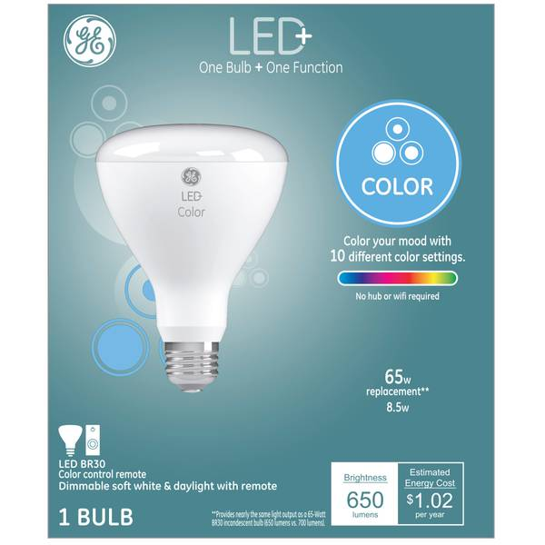 GE LED+ Remote Control 65-Watt Replacement Color Changing BR30 Light Bulb