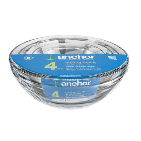 Anchor Hocking 4 Piece Nested Glass Mixing Bowl Set