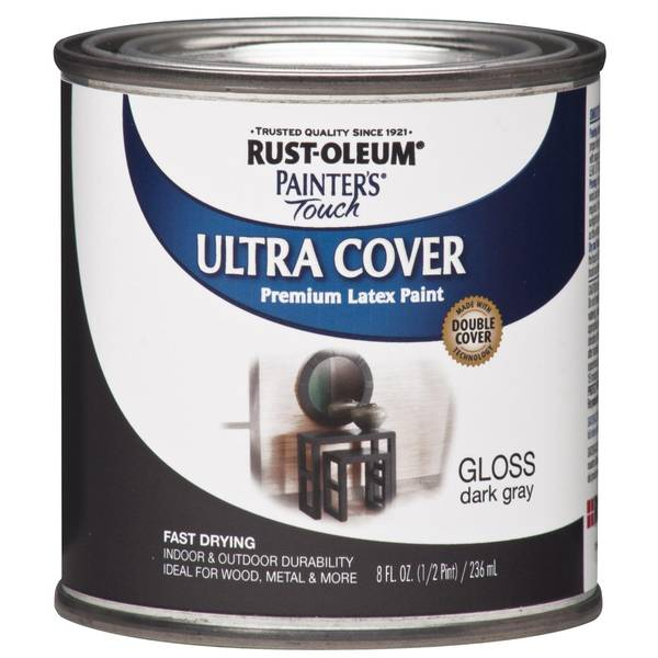 Rust-Oleum 8 oz Painter's Touch Dark Gray Gloss Premium Latex Paint