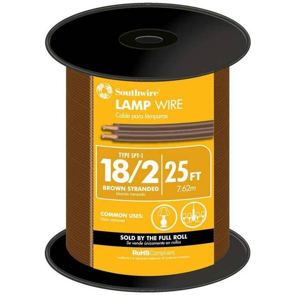 Southwire 25' 18/2 Brown Stranded Lamp Wire