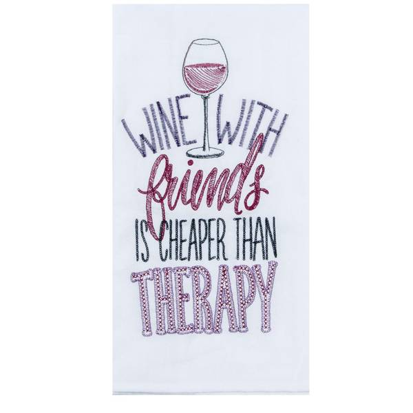 Kay Dee Designs Wine Therapy Embroidered Flour Sack Towel
