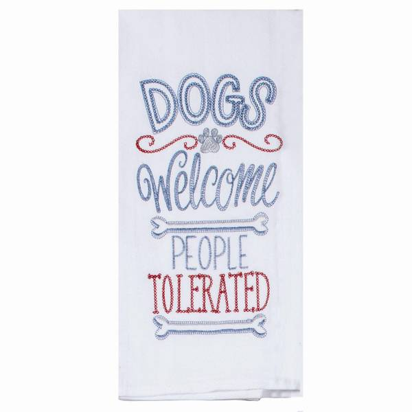 Kay Dee Designs Dogs Welcome Embroidered Flour Sack Towel