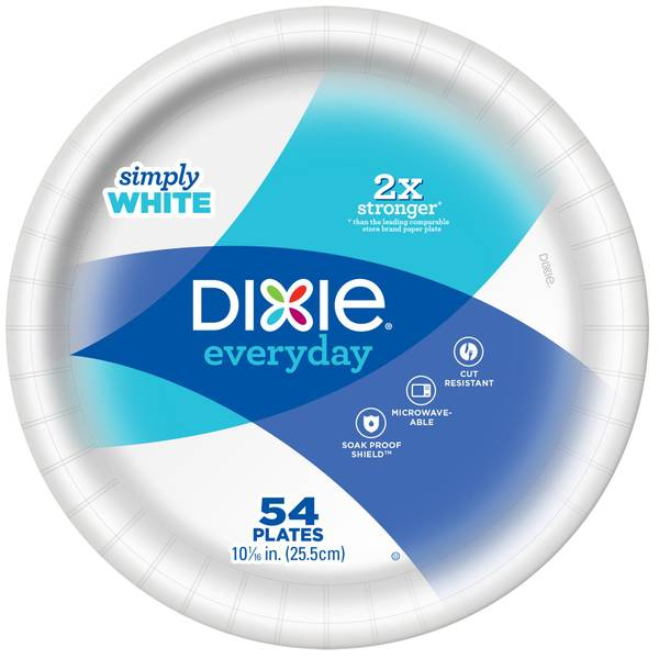 "Dixie 54 Count 10"" Everyday Paper Plates"