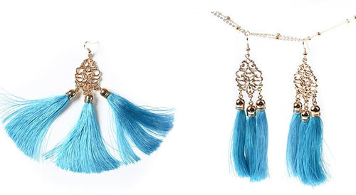 Blue Beauty Drop Tassle Earrings - Leesie