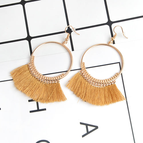 Brown Statement Tassle Earrings - Leesie