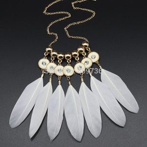 Boho Feather Pendant Necklace - Leesie