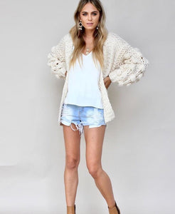 Diamond Bobble Sleeve Cardi - Leesie