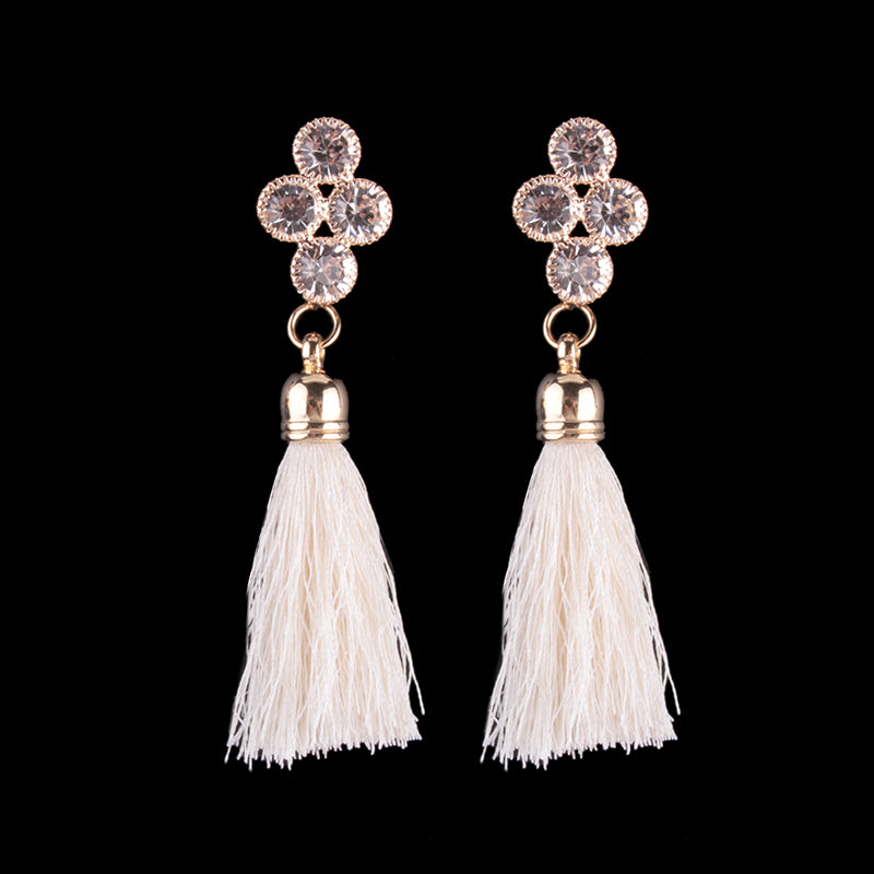 White Tassle Evening Drop Earrings - Leesie