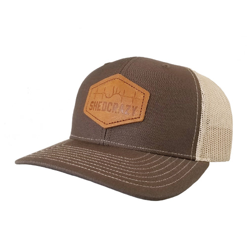 Brown/ Khaki Bent Brim Leather Patch