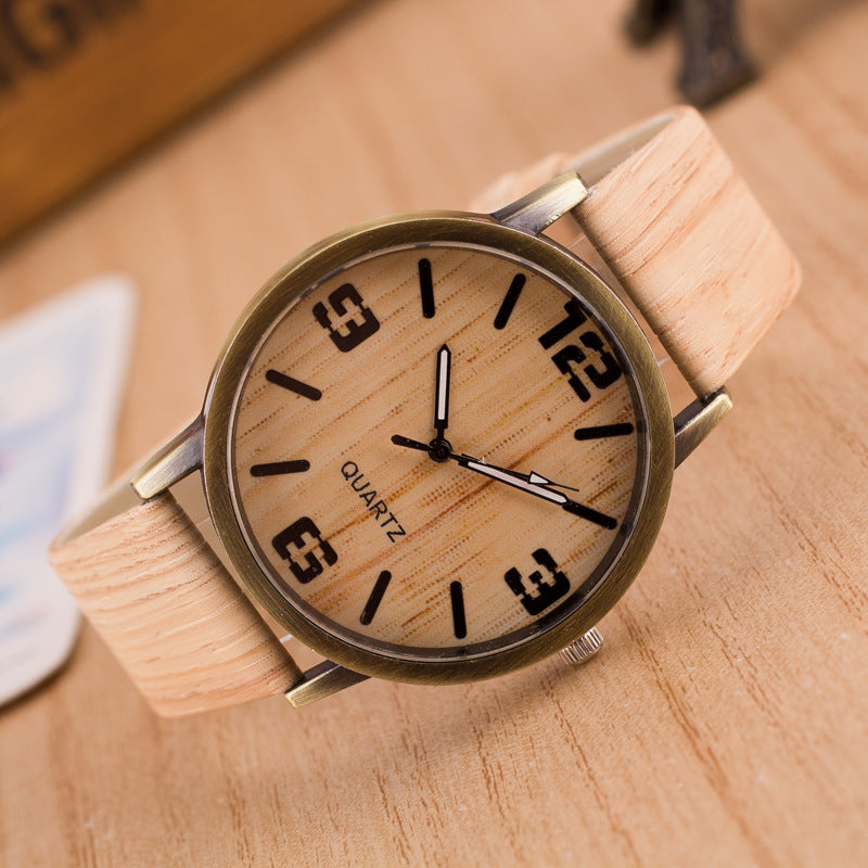 2016 New Design Vintage Wood Grain Watches for Men Women Fashion Quartz Watch Faux Leather Unisex Casual Wristwatches Gift