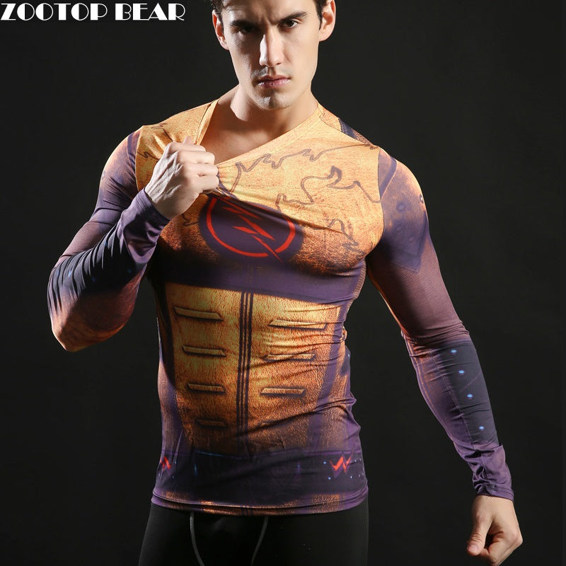 Hot Superhero Superman/Batman/Spiderman Men Long Sleeve T Shirt Compression Tights Tops Fitness T-shirt