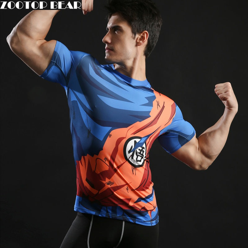 Men's Fashion Goku Dragon Ball 3D Print Casual Short Sleeve Cosplay T-Shirt Compression Tshirts Fitness ZOOTOP BEAR