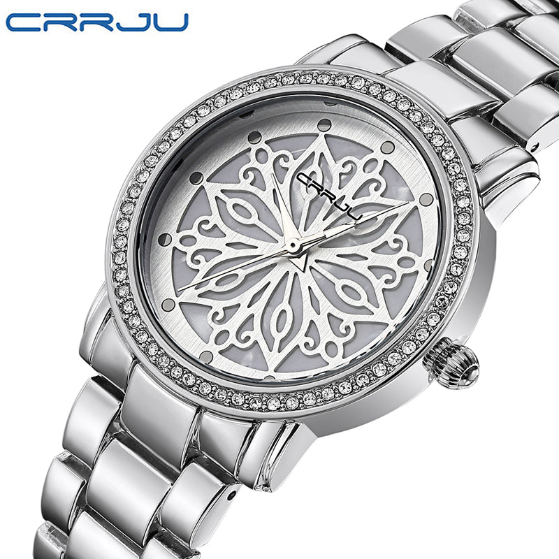Relogio Feminino CRRJU Luxury Brand Women Dress Watches Steel Quartz Watch Diamonds silver Watches For Womans Wristwatches