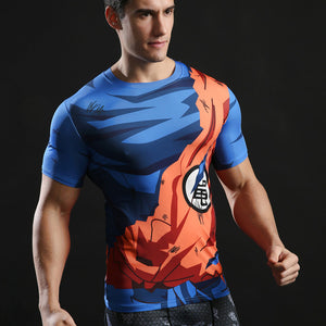 Men 's Fashion Goku Dragon Ball 3D Print Casual Short Sleeve Cosplay TShirt Compression Fitness