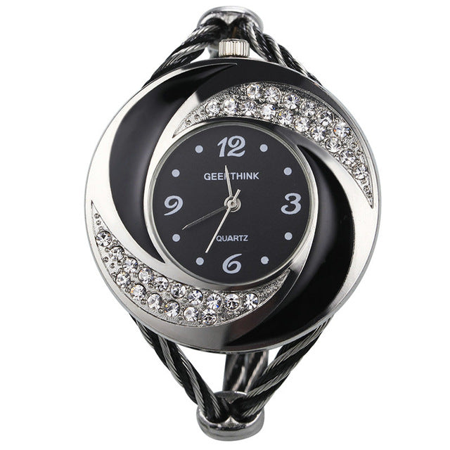 Rhinestone Whirlwind Design Metal Weave Clock female Dress Girls Bracelet Bangle Quartz Watch Woman Wristwatch Siver relojes