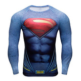Punisher Superhero Superman/Batman Men Long Sleeve TShirt Gym Compression Tights Tops Fitness