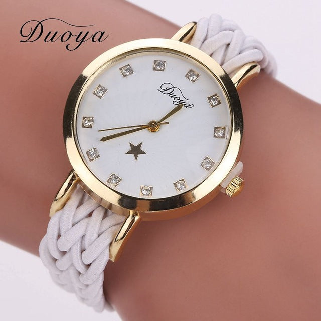 2017 New Fashion Women Gold Braided Leather Wrist Watch For Women Ladies Dress Star Crystal Luxury Crystal Quartz Watch Clock