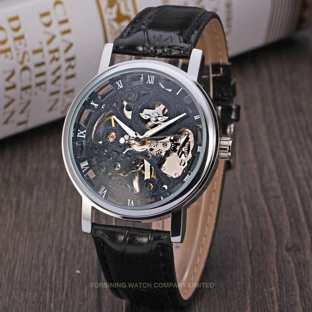 Winner Watches Men Low Price High Quality Mechanicanl Watch Male Dress Watch Luxury Brand Leather Band Golden Skeleton Watch