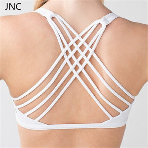 JNC Cute Criss Cross Black Yoga Bras Padded Push up Women Gym Activewear Top Light Support Wirefree Cool-look Fitness Sports Bra