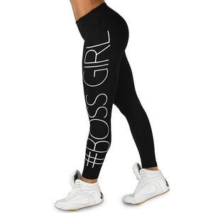 Printed BOSS GIRL Workout Push Up Leggings Women Pants Slim Cotton Fitness Legging Plus Size Legins Jeggings Black Gray