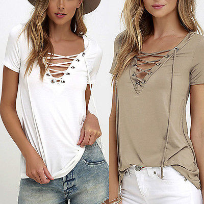 6 Colors Trendy TShirt  V-neck Criss Cross Women Summer Style Short Sleeve Tops Hollow Out