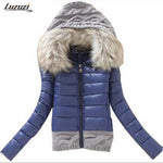 Winter Jacket Women Coat Cotton Padded Knitted Hood Fur Collar Chaquetas Mujer Jaqueta Feminina