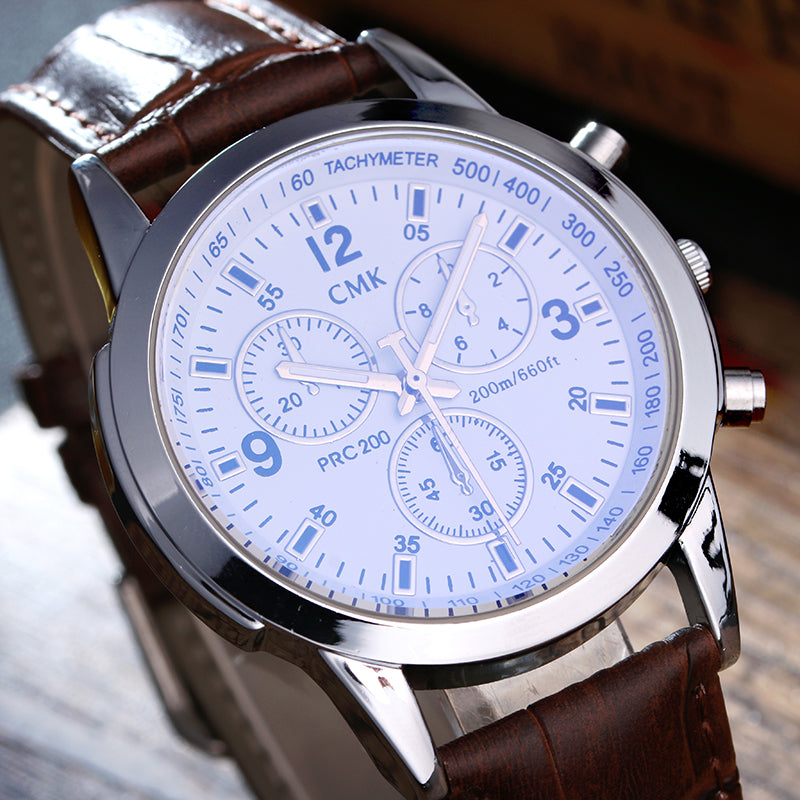 2017 New High quality brand men watches Casual fashion men's leather strap quartz watch outdoor sports blue wristwatches 3 color