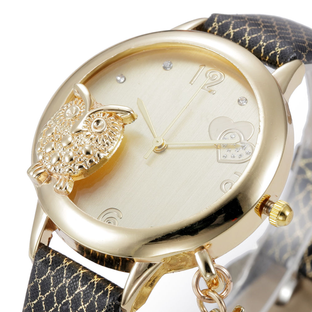 NEW Rhinestone Watch Women Owl Pendant Watch Leather Analog Quartz Watch