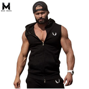 Hot Mens Cotton Hoodie Sweatshirts fitness clothes bodybuilding tank top men Sleeveless Trend Tees Shirt Casual golds vest