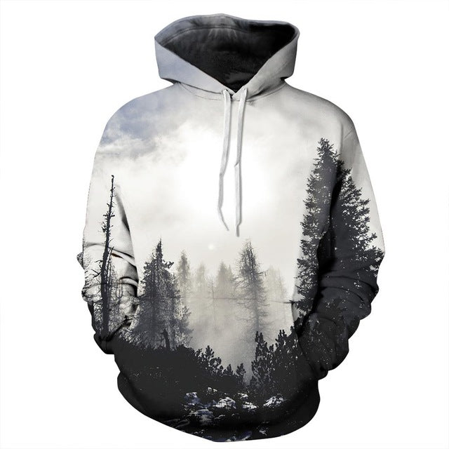 Mr.1991INC New Fashion Autumn Winter Men/women Thin Sweatshirts With Hat 3d Print Trees Hooded Hoodies Tops Pullovers