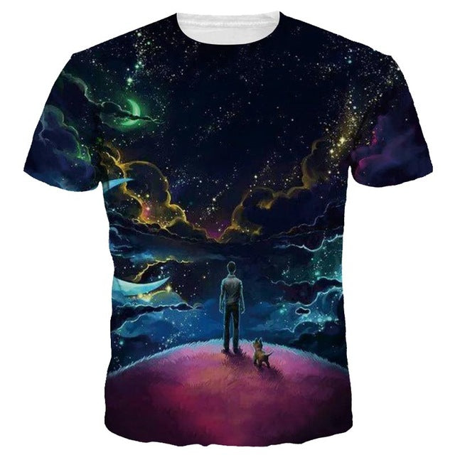 Mr.1991INC New Arrivals Men/Women 3d T-shirt Digital Print Moon Night Space Galaxy Tshirts Quick Dry Summer Tops Tees