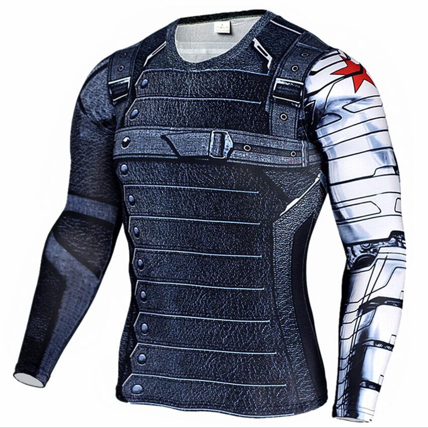 Superhero Winter Soldier Bucky Anime 3D TShirt Fitness Men Crossfit T-Shirt Long Sleeve Compression