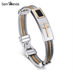 New Gold Cross Bracelet Men Jewelry Stainless Steel Rock Bracelets & Bangles Leather Pulseira Masculina