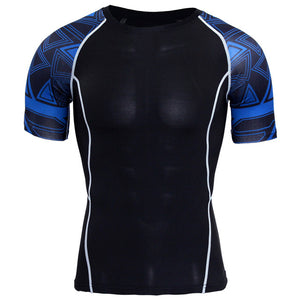 New Compression Shirt Splicing Sleeve Fitness Men Wolf Skull Anime 3D T Shirt MMA Short Sleeve Crossfit Bodybuilding Tee Shirt