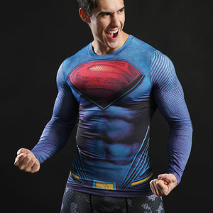 Superman Printed Tshirts Men Compression Top Fitness T-shirts Novelty Slim Summer Tight Tee Superhero Crossfit ZOOTOP BEAR