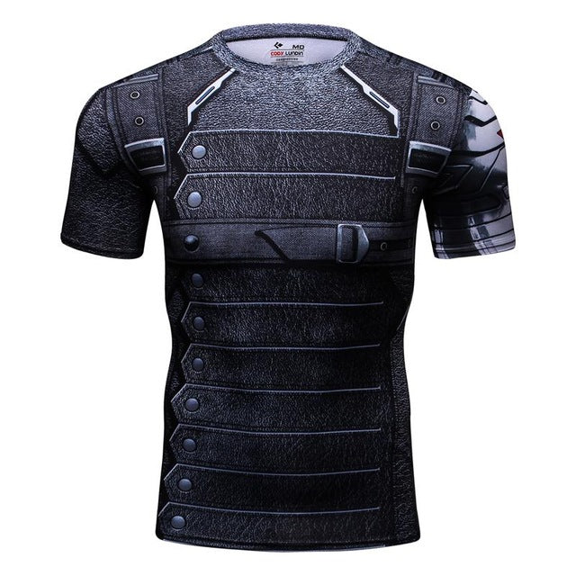 Marvel batman compression shirt fitness tights crossfit quick dry short sleeve t shirt Summer Men tee tops clothing