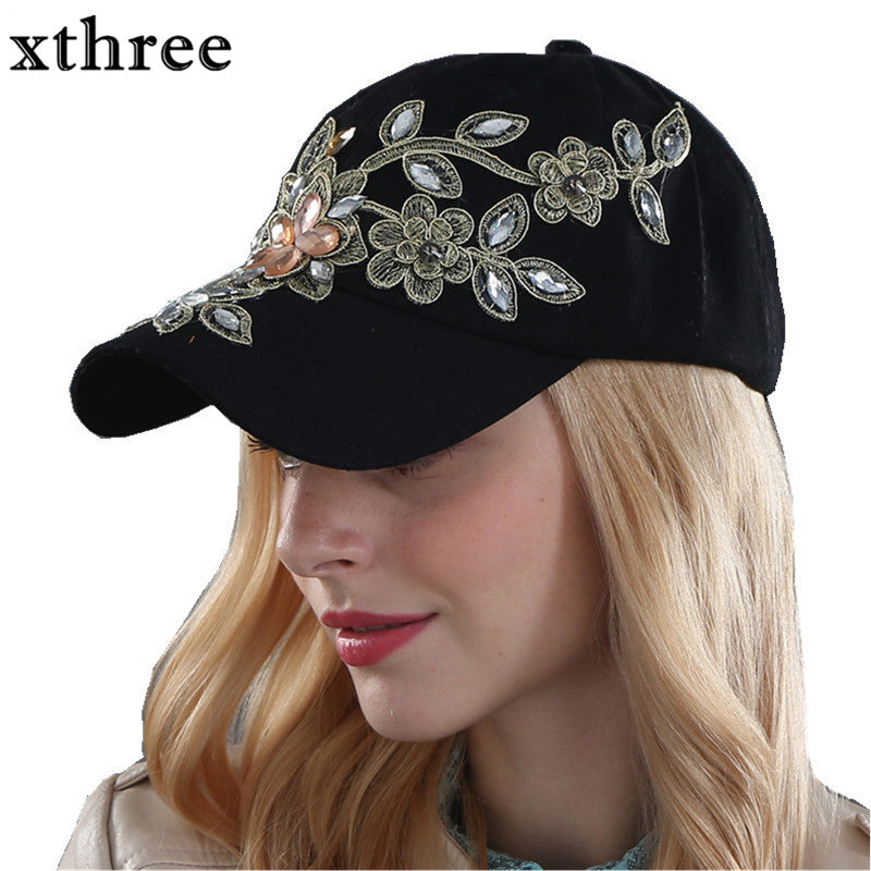 Xthree Fall Fashion Denim Baseball Cap Sports Hat Canvas Snapback for Women