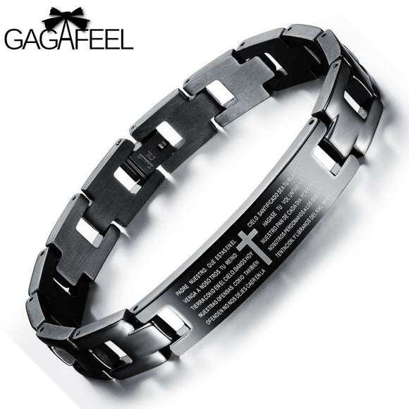 Fashion Men Titanium Steel High Grade Thick Adjustable Bracelets Male Black Bible Cross Bangle Best Gifts