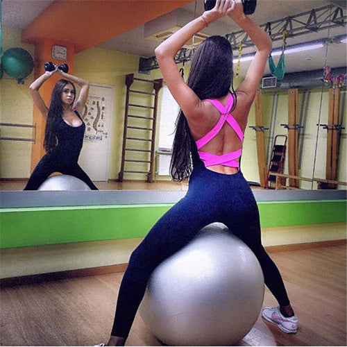 Yel Hot Sexy Girls Backless Playsuit Fitness Tights Jumpsuits Costume Yoga Sport Suit Gym Tracksuit For Women One Piece Bodysuit