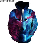 Wolf Printed Hoodies Men 3D Sweatshirt Plus size Pullover Novelty 6XL Streetwear Hooded Jacket