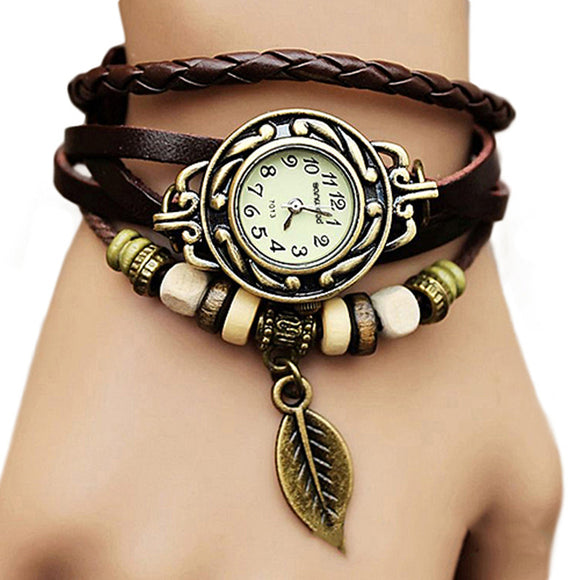 2017 Hot Retro Butterfly Leaf Fashion leather Bracelet Water Quartz Hand Clock Women Wristwatch
