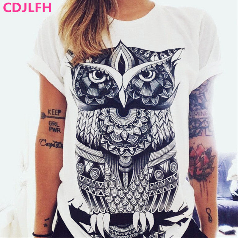 Fashion Women Short Sleeve Summer Autumn TShirt Female Retro Graffiti Flower Tops Tee Lady Unicorn